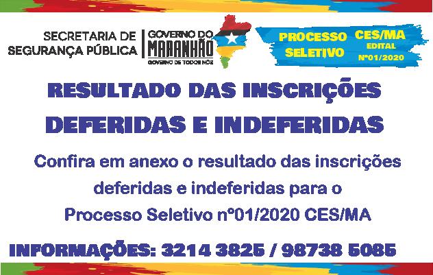 Resultado das Inscrições deferidas e indeferidas do Processo Seletivo nº01/2020-CES
